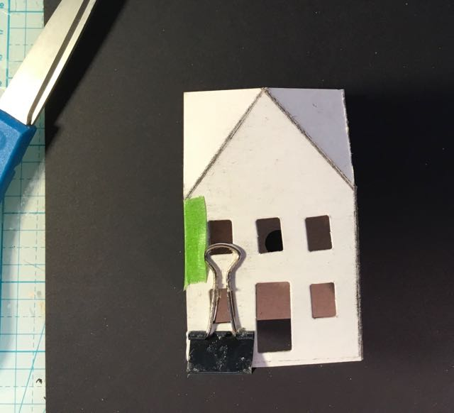 Handmade cardboard house glued together
