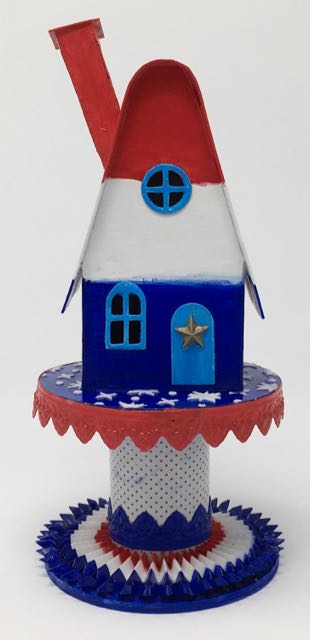 Patriotic Paper Putz house base on the candy corn house template | Holiday Paper House| Independence Day Paper House