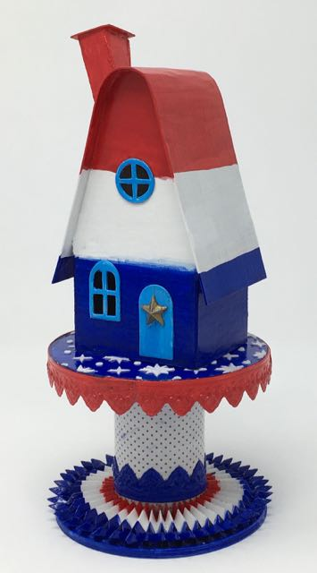 Patriotic Putz House for Independence Day | DIY Holiday Putz House | Fourth of July Paper House