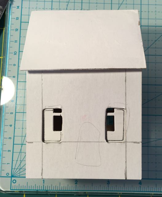 Alterations on Tim Hotz Sizzix Village Bungalow to make a patriotic house #putzhouseDIY #Fourthofjuly #holidaypaperhouse