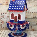 Patriotic Paper House to celebrate the Fourth of July #putzhouse #tutorial #paper