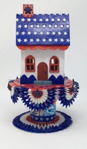 Starry Roof Patriotic House - cardboard house made with DIY star stencil #putzhouse #DIYstencil #howtomakeputzhouse