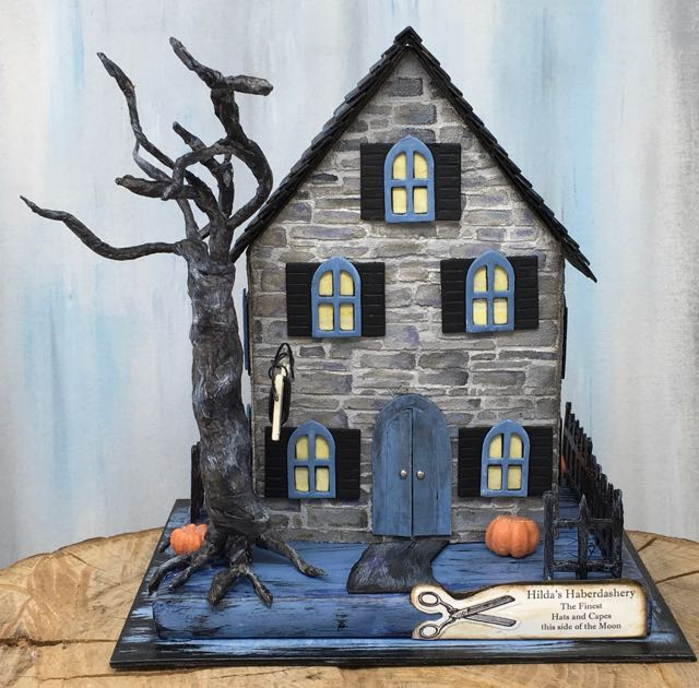 Hilda's Haberdashery - a miniature paper house Halloween decoration