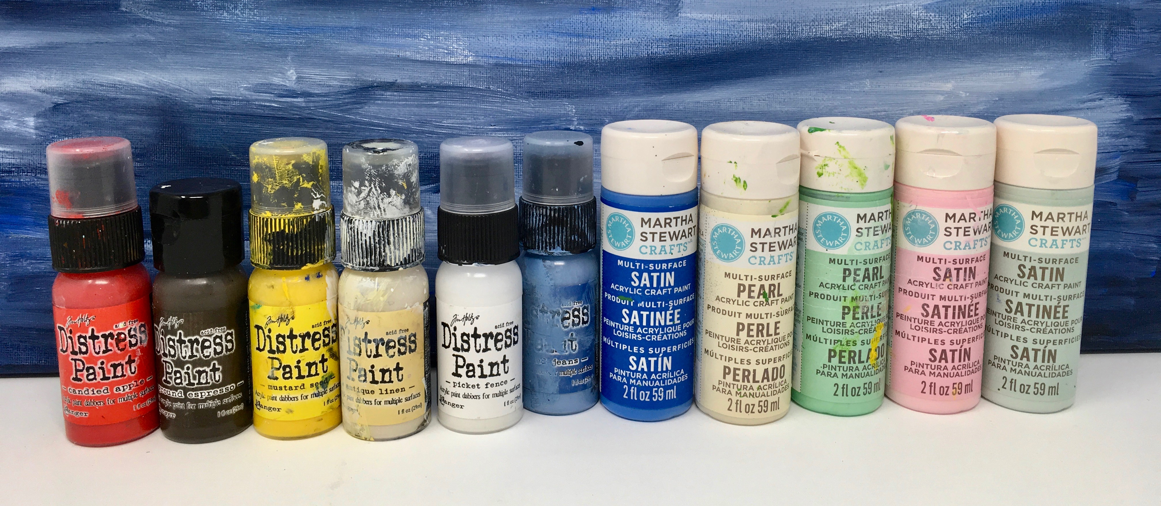 Ranger Distress paints and Martha Stewart paints for painting your glitter or putz house #putzhouse