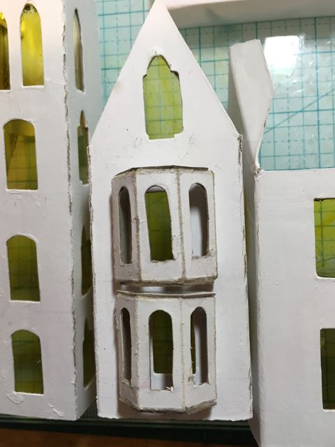 Construction of a Paper-based Halloween house #Halloweenhouse #putzhouse #halloween #papercraft