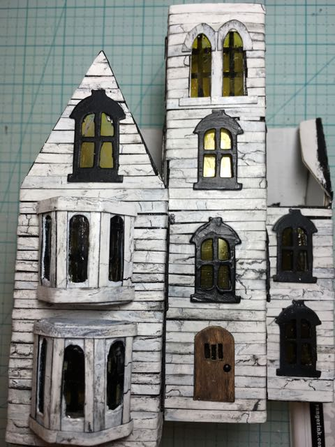 Abandoned Italianate Mansion Halloween House in progress #hallloweenhouse #halloween #putzhouse #papercraft