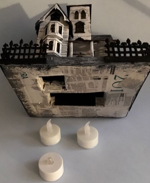 Cardboard base for Halloween house with LED lights