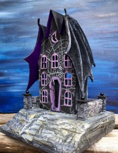 Bat Wing Halloween House made out of paper and cardboard. Make a Halloween village #halloweenhouse #putzhouse #halloween #papercraft