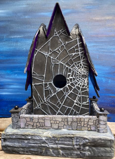 Stone wall on back of the Count's Keep Halloween Putz house #halloweenhouse #putzhouse #halloween #papercraft