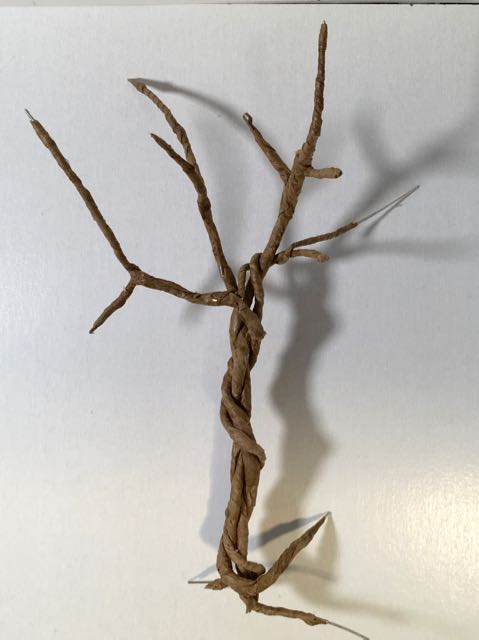 2-3 strands of paper-covered wire twisted together forming the twisted tree