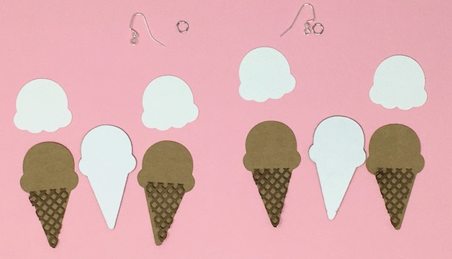 Ice cream cone earrings pieces