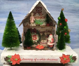 Inside view miniature Chirstmas shadowbox