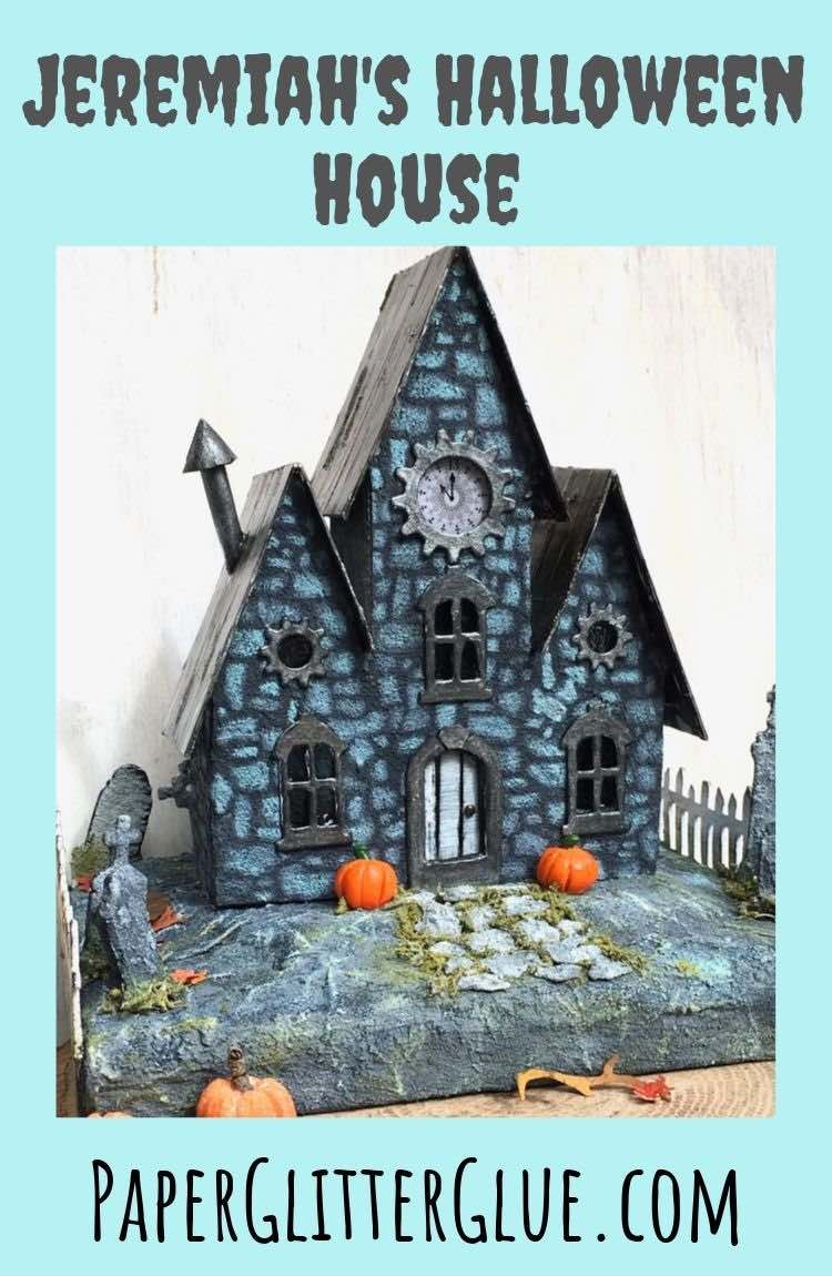 Jeremiah's Halloween Paper House with spooky landscaping details