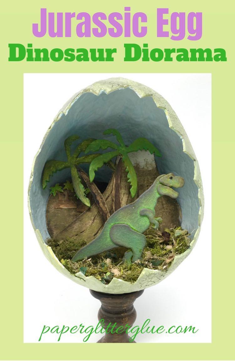 Dinosaur Diorama made with paper mache egg