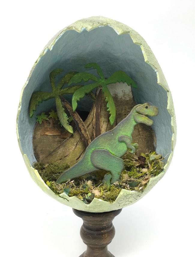 Jurassic Egg Dinosaur diorama in paper mache egg