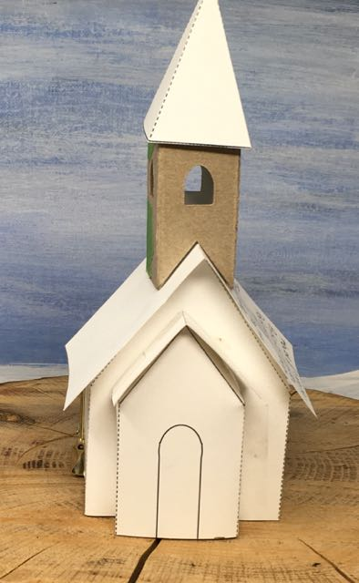 Just right steeple snowy church template for paper house