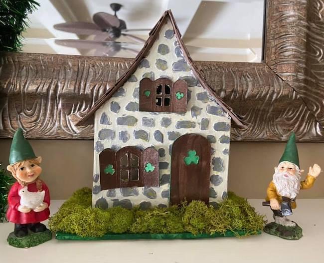 Tiny cardboard gnome house