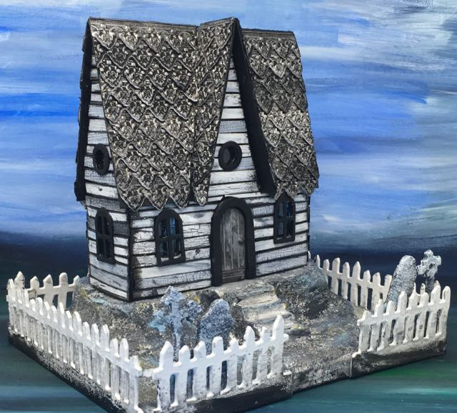 Embossed Roof Halloween Paper House with crackle paint siding and an embossed roof made with metallic tape #putzhouse #halloween #papercraft