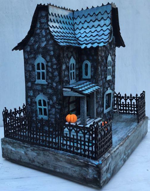 Lady Davenport 3D paper house at dusk