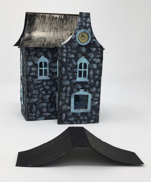 Lady Davenport paper house with main roof glued on