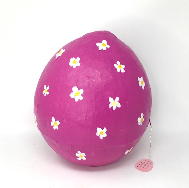 Large pink daisy surprise Easter egg