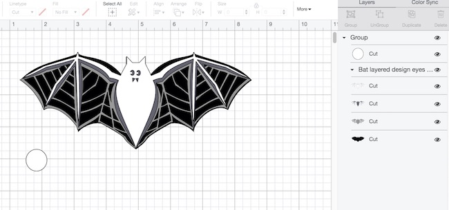 Layered bat design in Cricut's Design Space