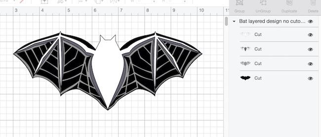 Layered bat design plain in Cricut's Design Space