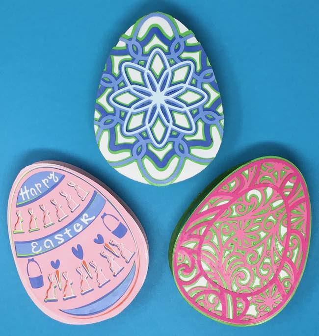 Layered egg designs on Easter egg box