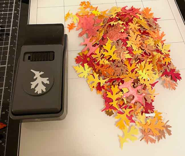 Leaves made with paper punch