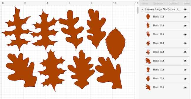 Paper Leaf pattern in Cricut Design Space with no score lines specified