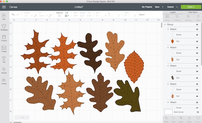 Leaves scored and attached in Cricut Design Space