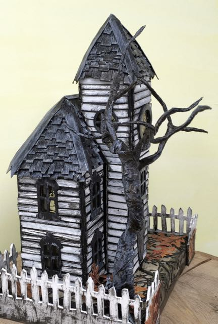 Left side of Haunted Schoolhouse putz house #putzhouse #paperhouse #Halloweendecor #papercraft