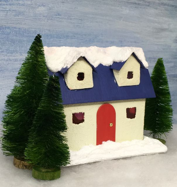 Winter Cottage Christmas Putz house red door snowy roof