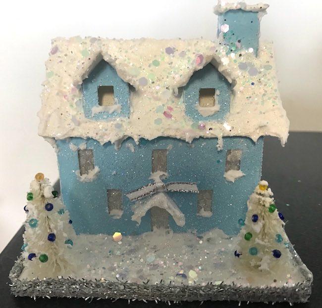 Light blue pastel house great glitter 2 dormers