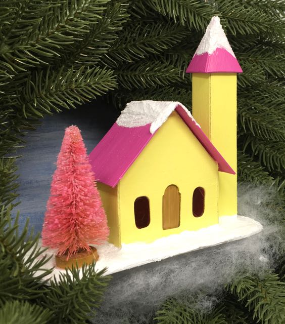 Little Yellow Church with a side steeple and a pink bottlebrush tree. Free Printable pattern and tutorial