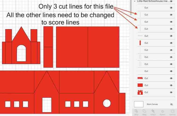 Little Red Schoolhouse paper house pattern 3 cut lines