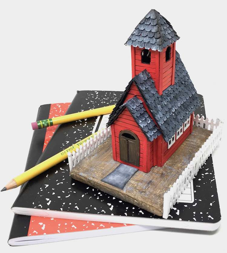 Little Red Schoolhouse back to school paper house