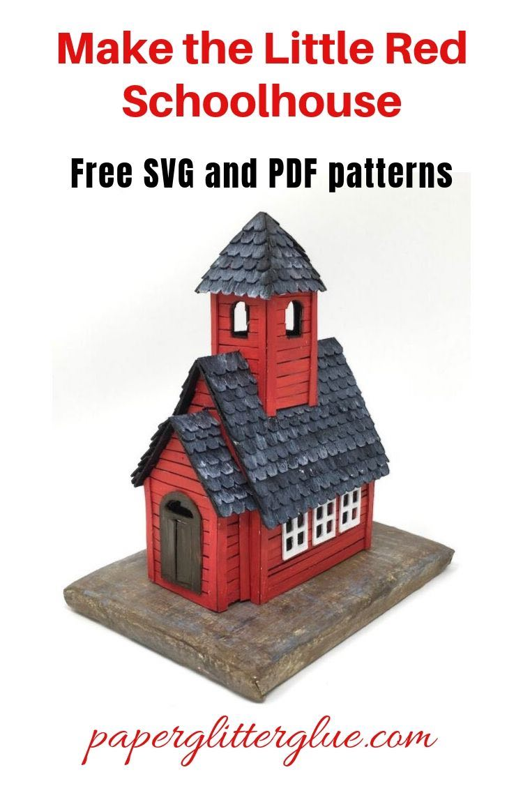 Little Red Schoolhouse free SVG template and PDF pattern