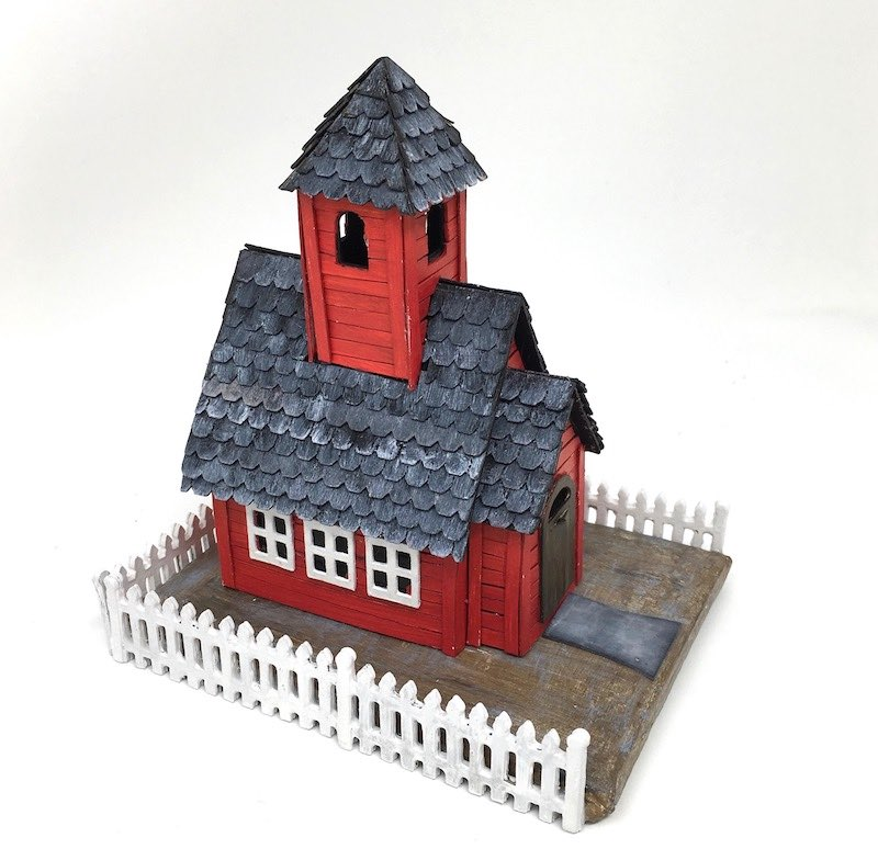 Little Red Schoolhouse paper house showing the left side