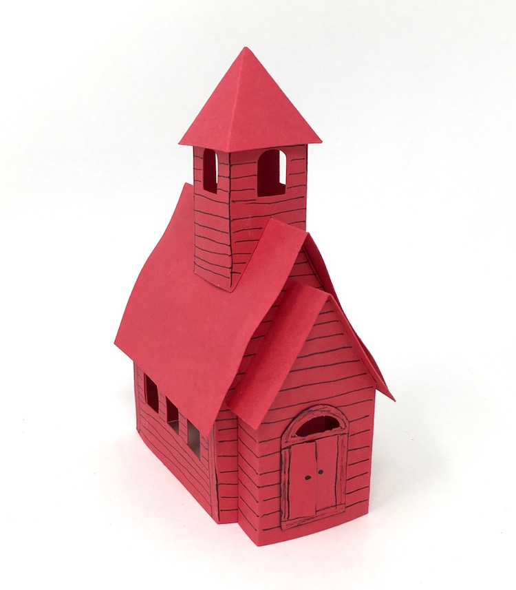 Little Red Schoolhouse paper house card stock version