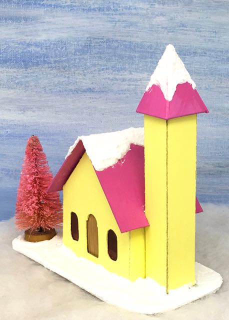 Little Yellow Putz Church with side steeple pink bottlebrush tree #putzhouse #printablepattern