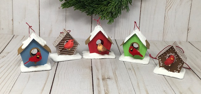 Little birdhouse ornaments all in a row