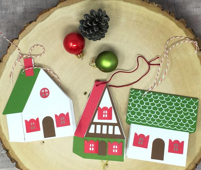 Little house gift tags made with cardstock