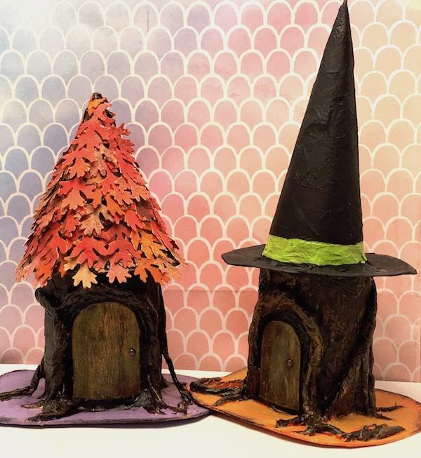 Little oak leaf and witch's hat tree stump paper house