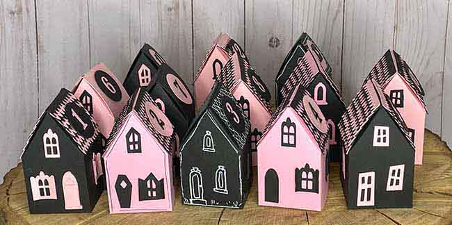 Little paper house treat boxes all in a row
