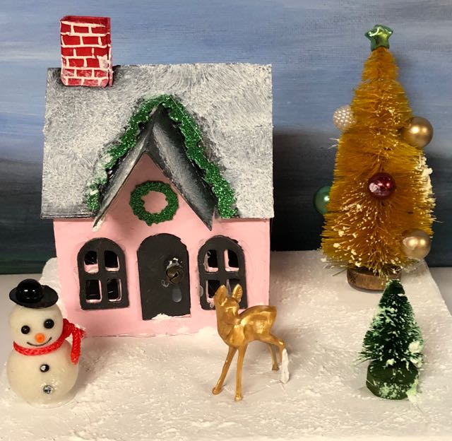 Little pink putz house with jingle bell brad door snowman deer