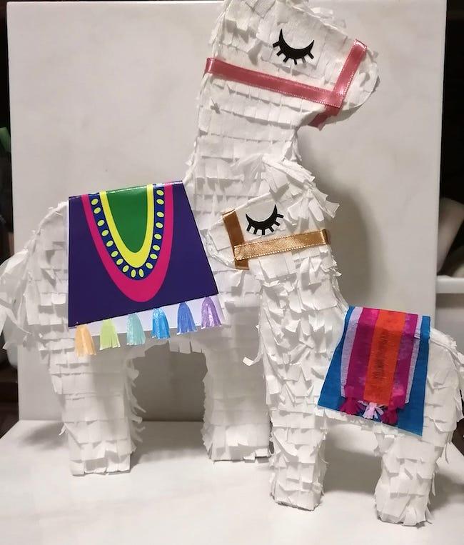 Llama pinatas made by Alta