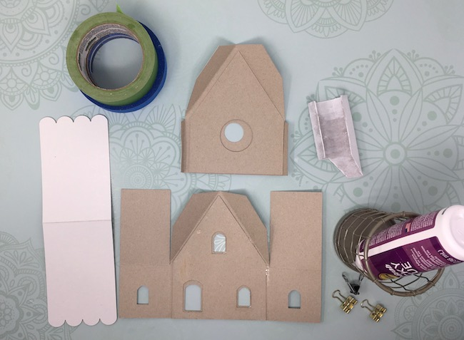 Main pieces cut out for the Gingerbread cardboard cottage