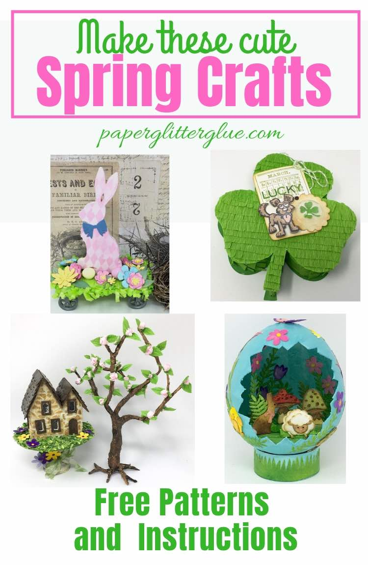 Spring crafts paper mache egg bunny pull toy flowering cherry tree shamrock candy box