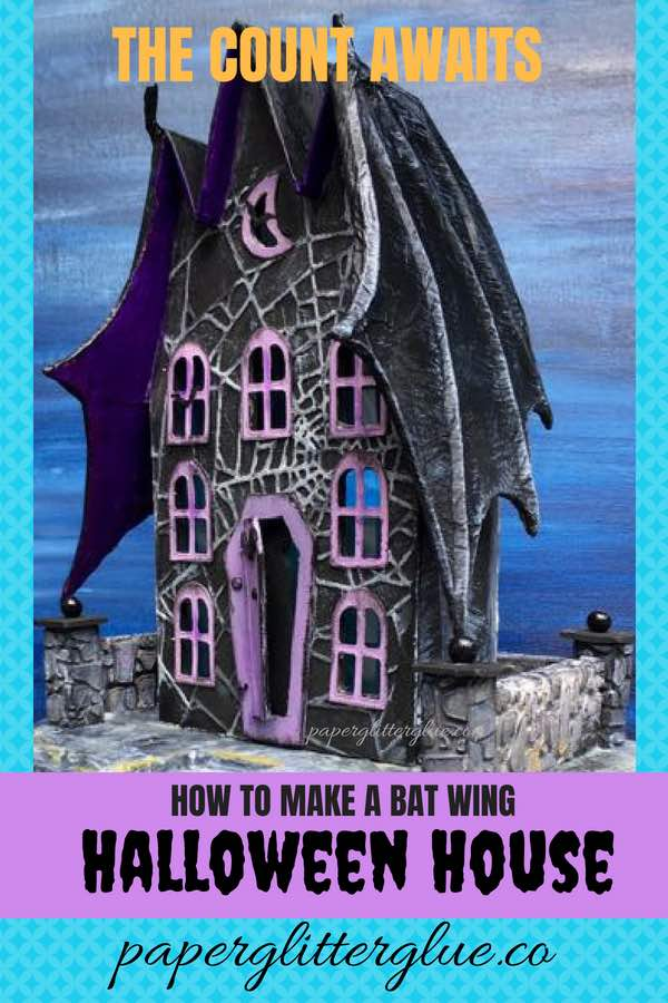 Instruction on how to make this cool Bat wing Halloween house out of paper and cardboard #halloweenhouse #putzhouse #halloween #papercraft